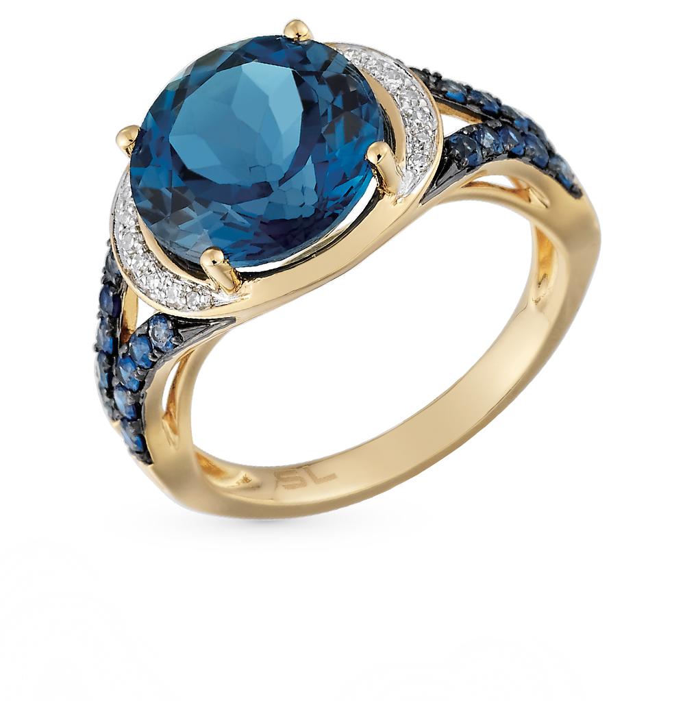 Золотое кольцо с сапфирами, топазами и бриллиантами в Екатеринбурге
