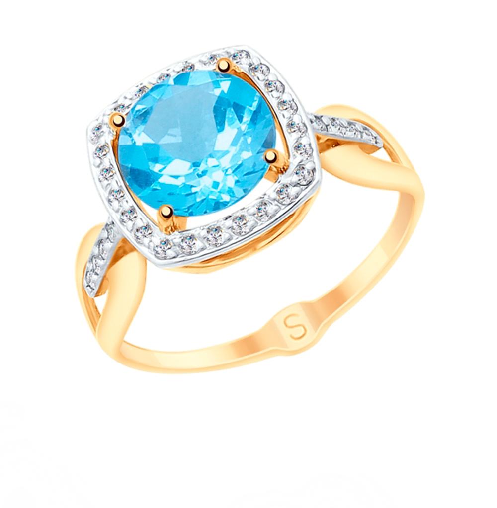 золотое кольцо с топазами и фианитами SOKOLOV 715119