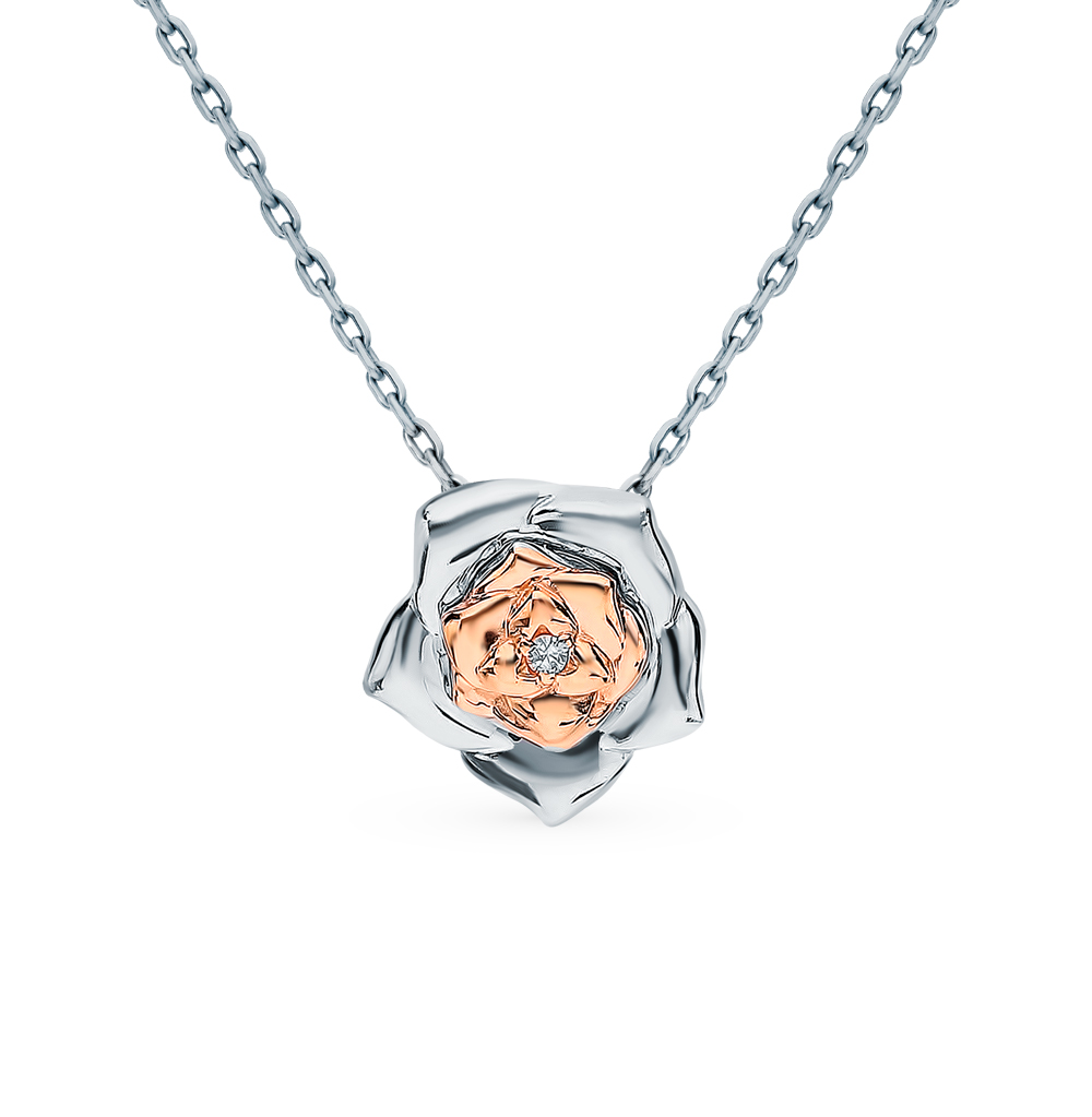 серебряное колье с бриллиантами