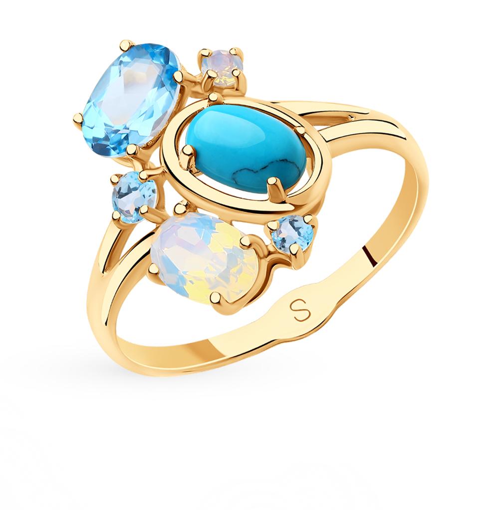 золотое кольцо с бирюзой, топазами и ситаллами SOKOLOV 715721*
