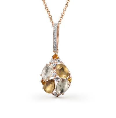 Фото «золотая подвеска с цитринами, кварцем и бриллиантами»