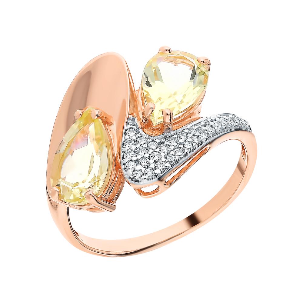 Фото «Серебряное кольцо с кварцем и фианитами»