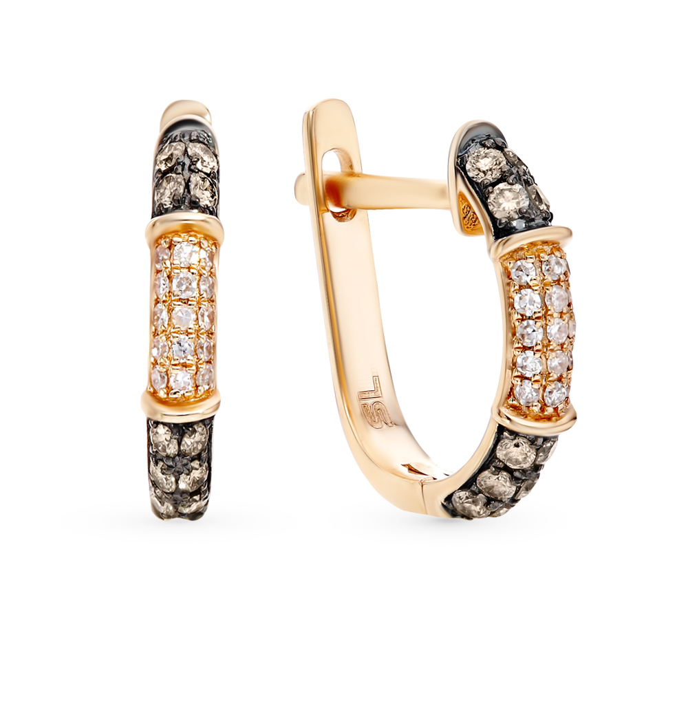 Золотые серьги с коньячными бриллиантами