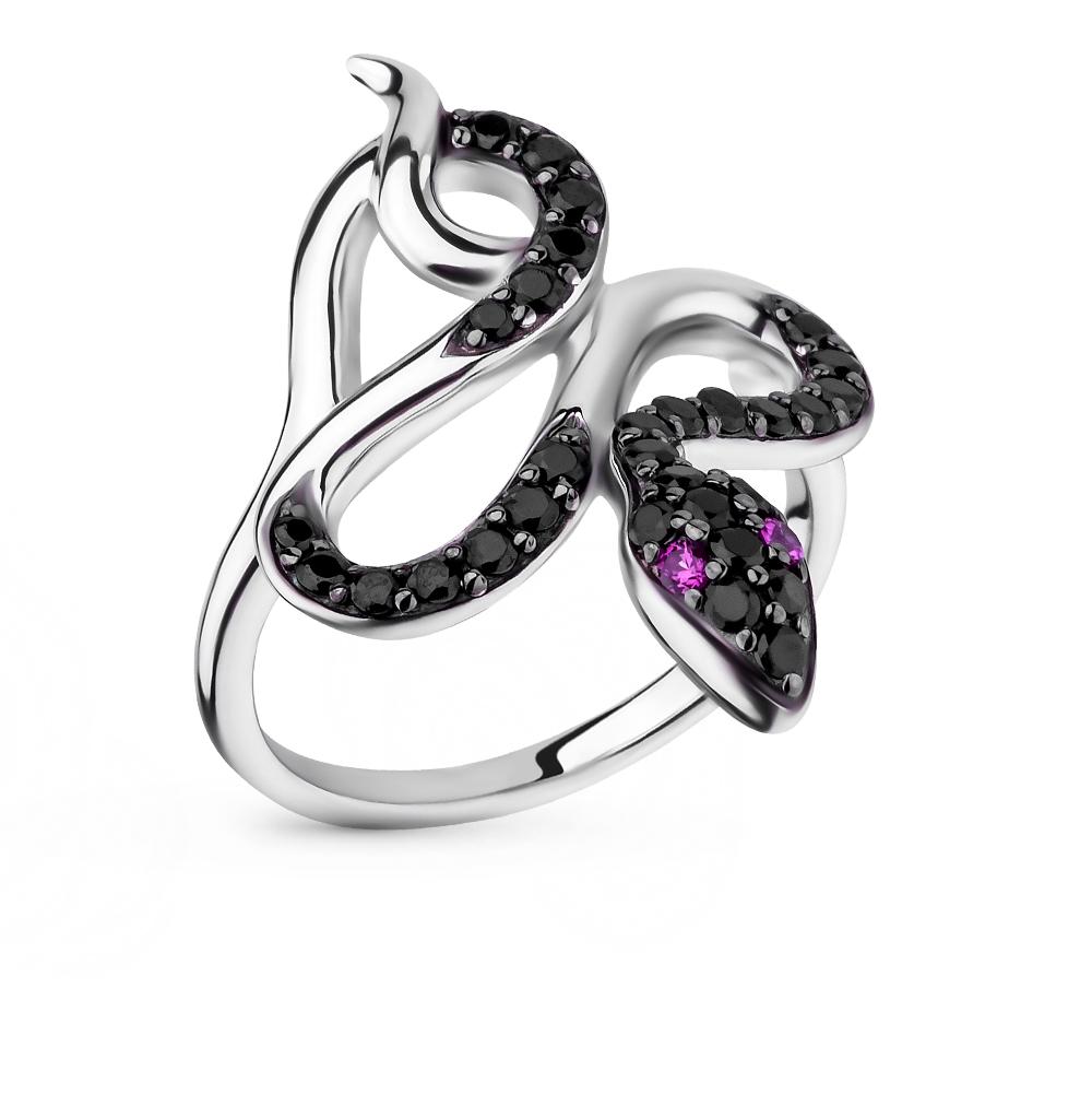 Фото «серебряное кольцо с со шпинелью и рубинами синтетическими»