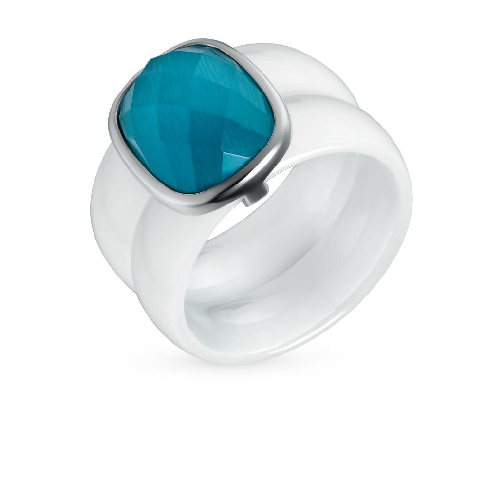 Фото «кольцо из керамики и серебра с кошачьим глазом»