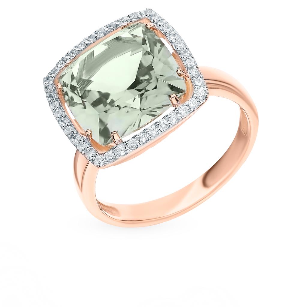 Фото «Золотое кольцо с аметистом, фианитами и празиолитами»