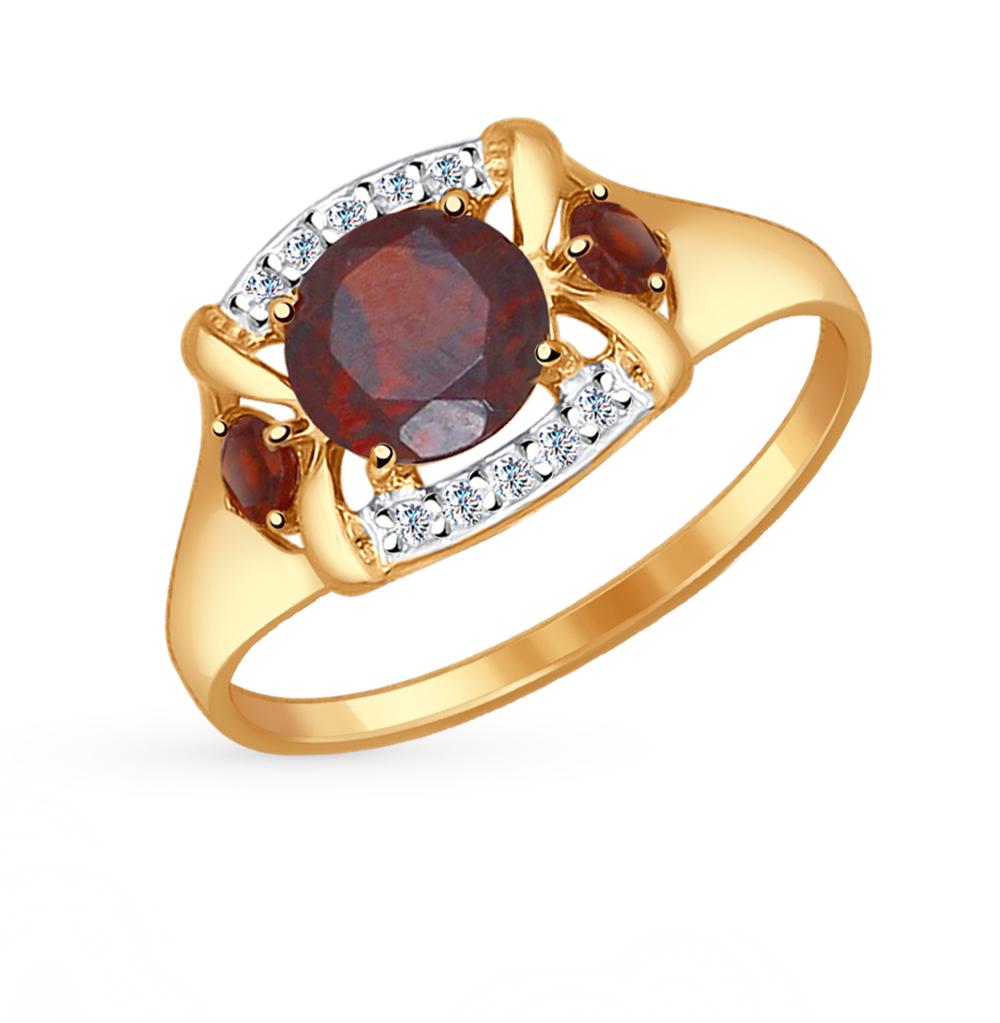 золотое кольцо с фианитами и гранатом SOKOLOV 714517*