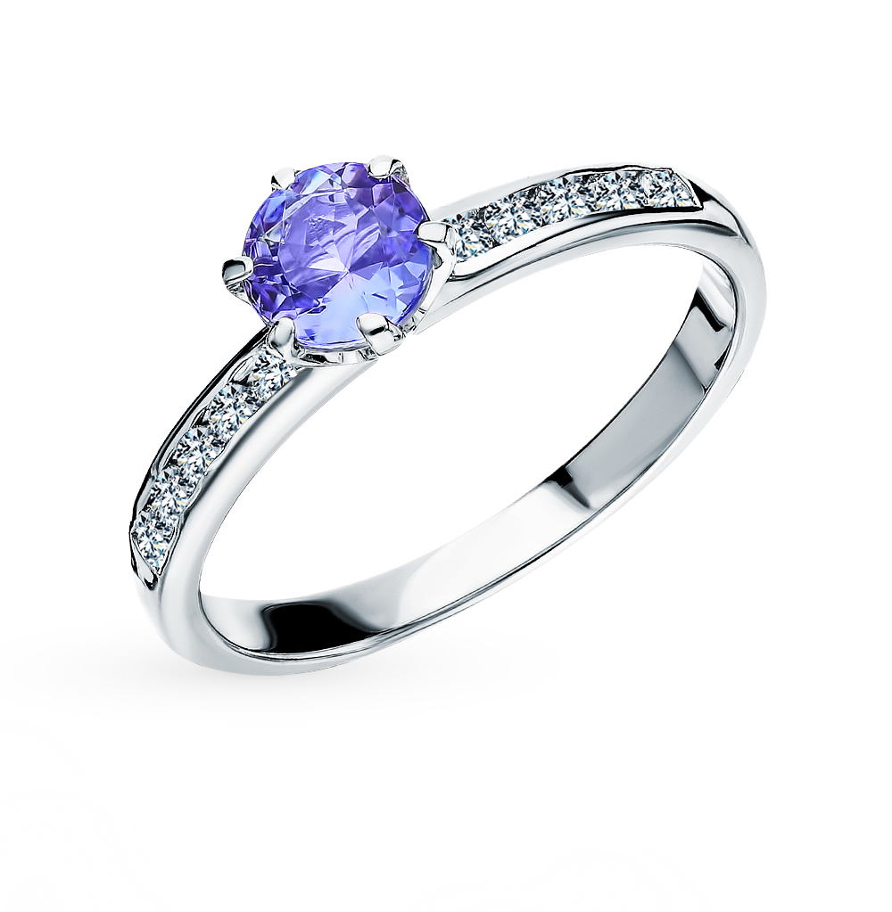 Золотое кольцо с танзанитом и бриллиантами в Санкт-Петербурге