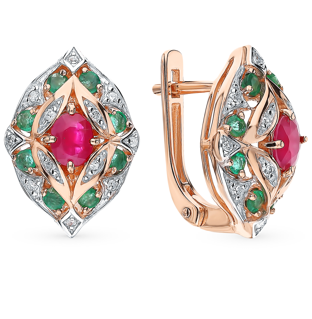 Фото «Золотые серьги с рубинами, изумрудами и бриллиантами»