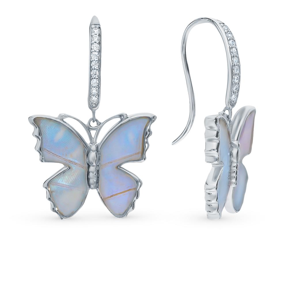 Серебряные серьги с фианитами, эмалью и  крыльями бабочки в Екатеринбурге