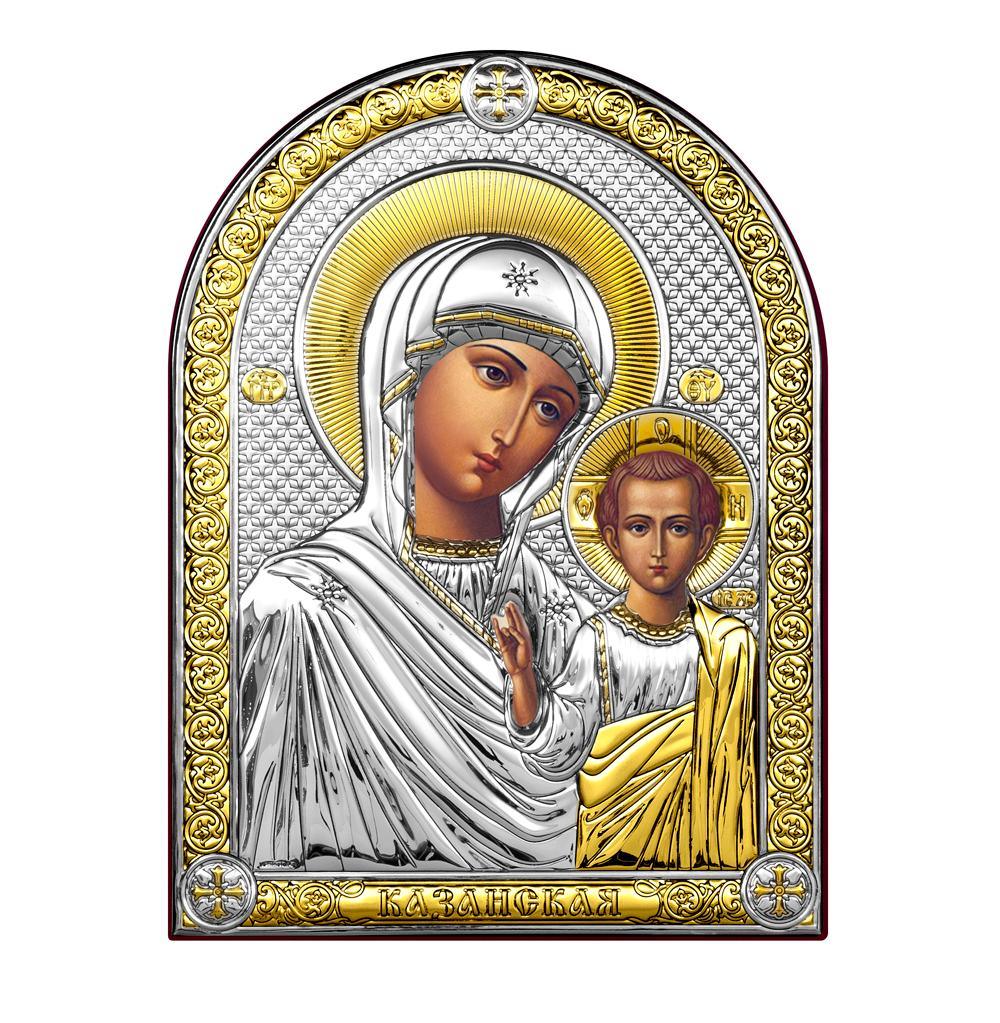 Икона Казанская Богородица, с позолотой, на дереве