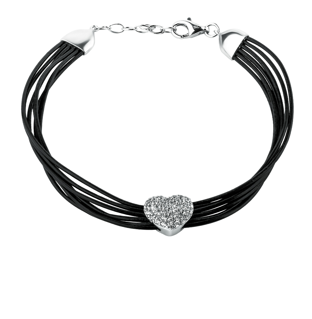 Фото «серебряный браслет с кожей и фианитами»