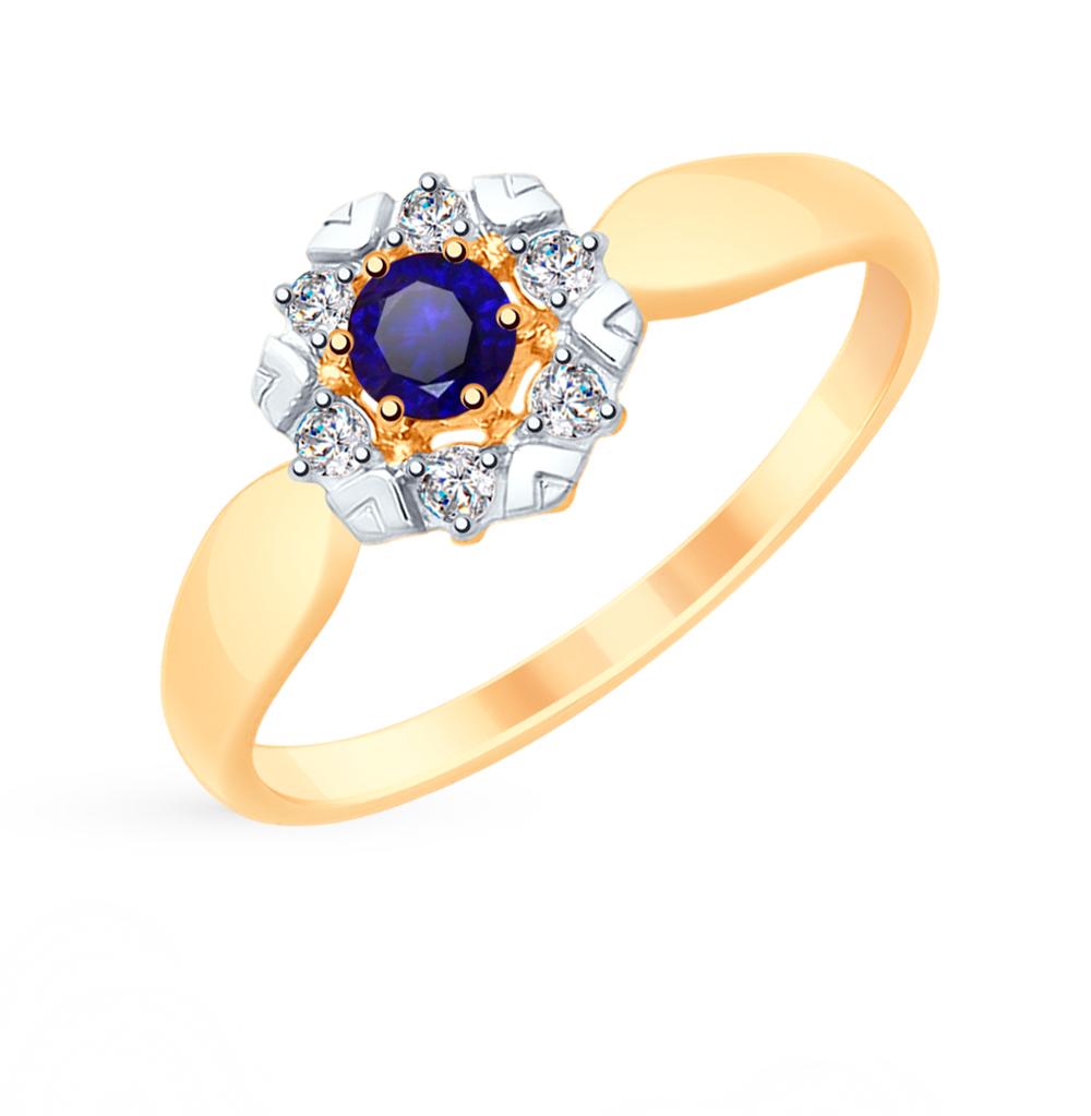 Фото «Золотое кольцо с корундом и фианитами SOKOLOV 715307*»