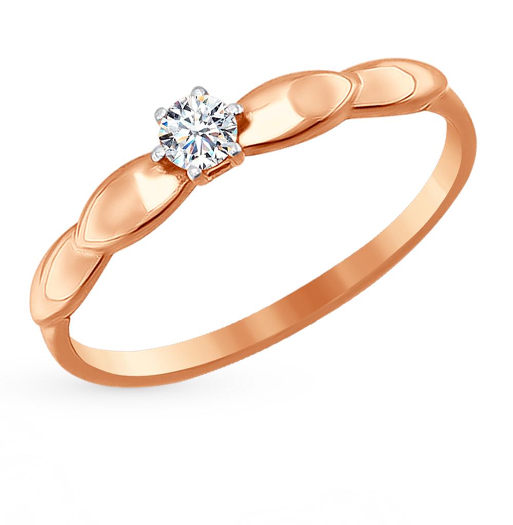 золотое кольцо с фианитами SOKOLOV 016702*