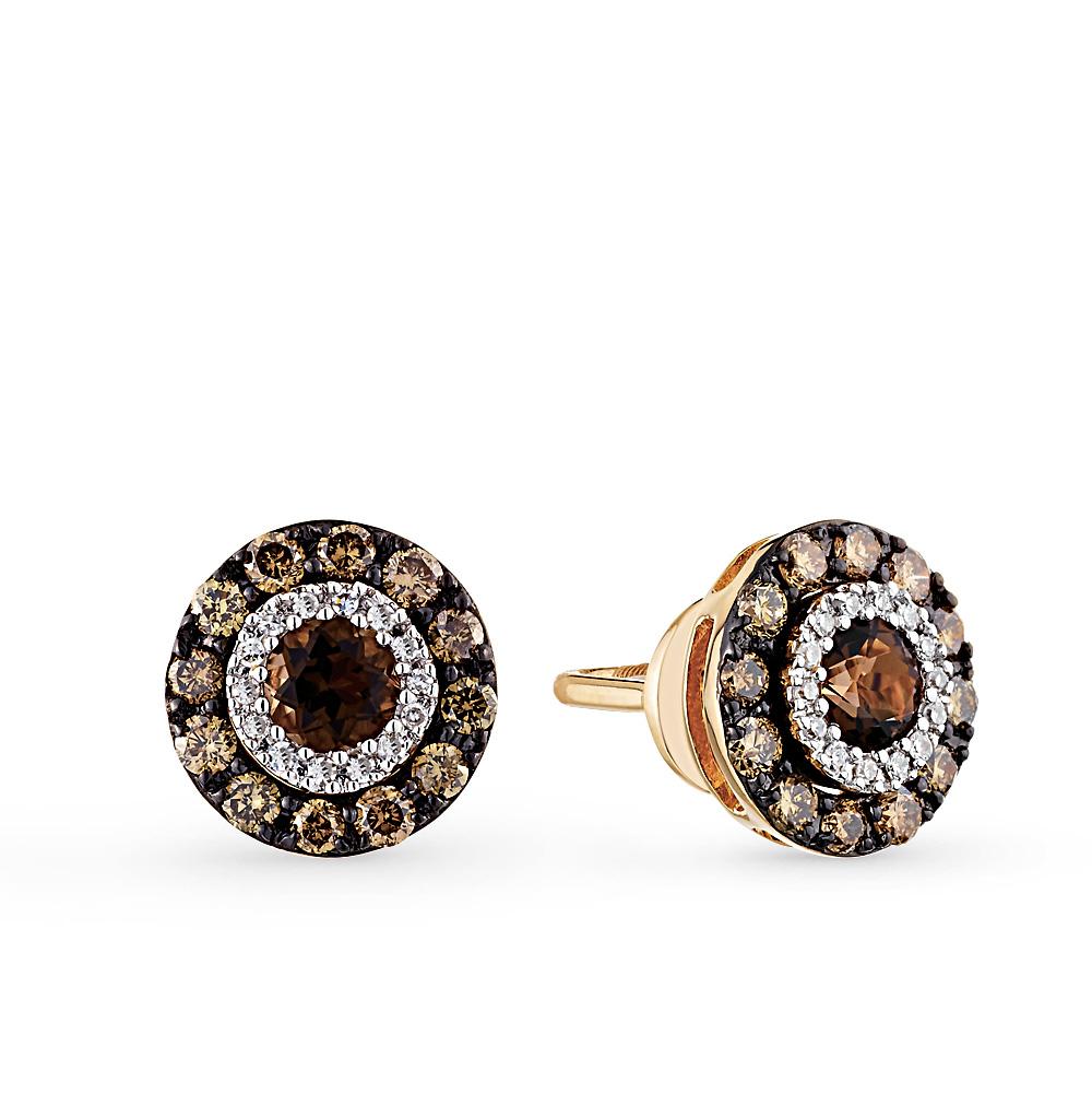 Золотые серьги с коньячными бриллиантами, раухтопазами (кварцами дымчатый)