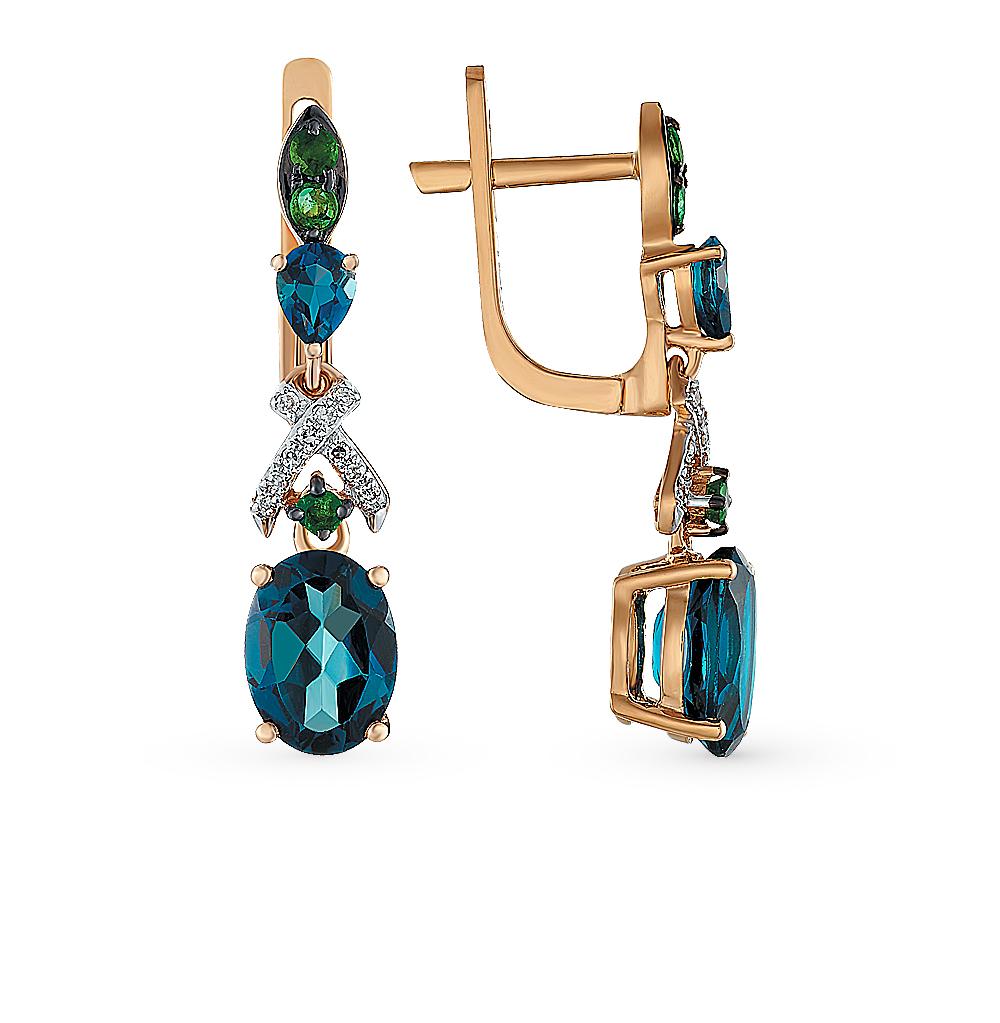 Фото «золотые серьги с топазами, изумрудами и бриллиантами»