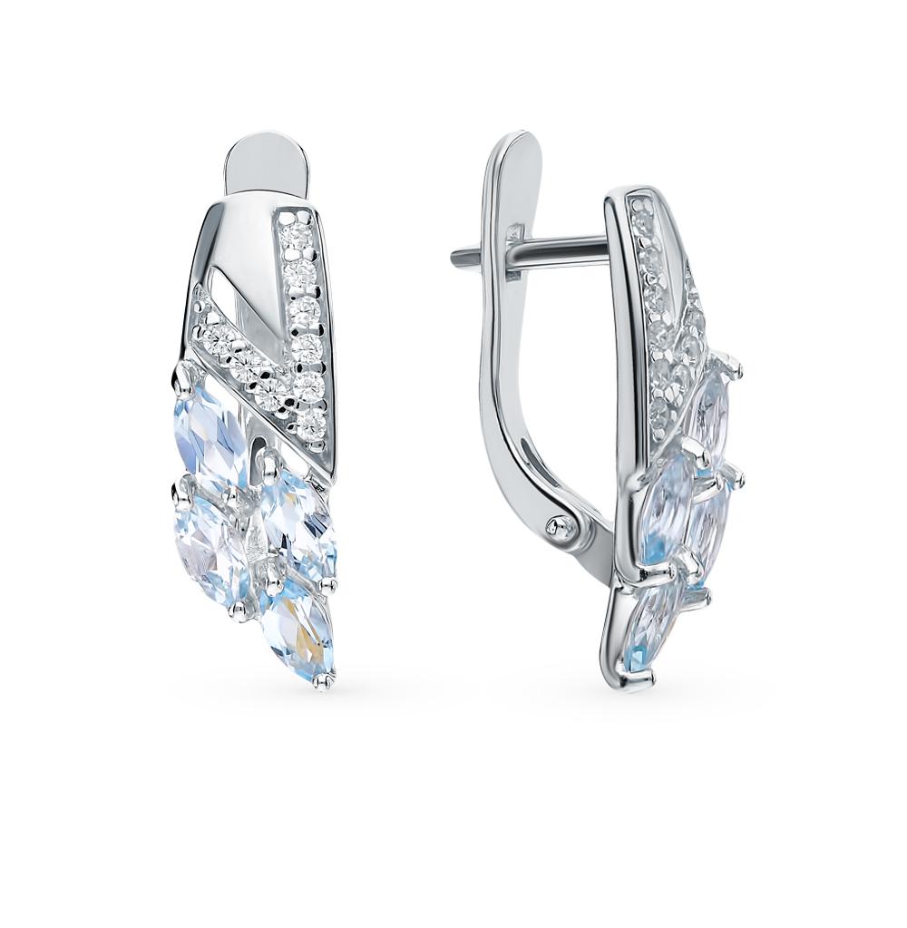 серебряные серьги с топазами и фианитами SOKOLOV 92021756