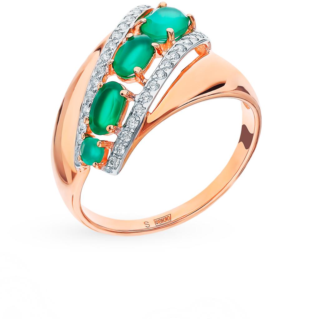 золотое кольцо с фианитами и агатом SOKOLOV 714825*