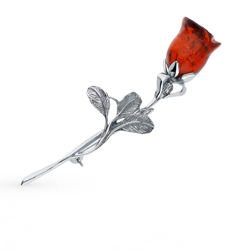 Фото «Серебряная брошь с янтарем»