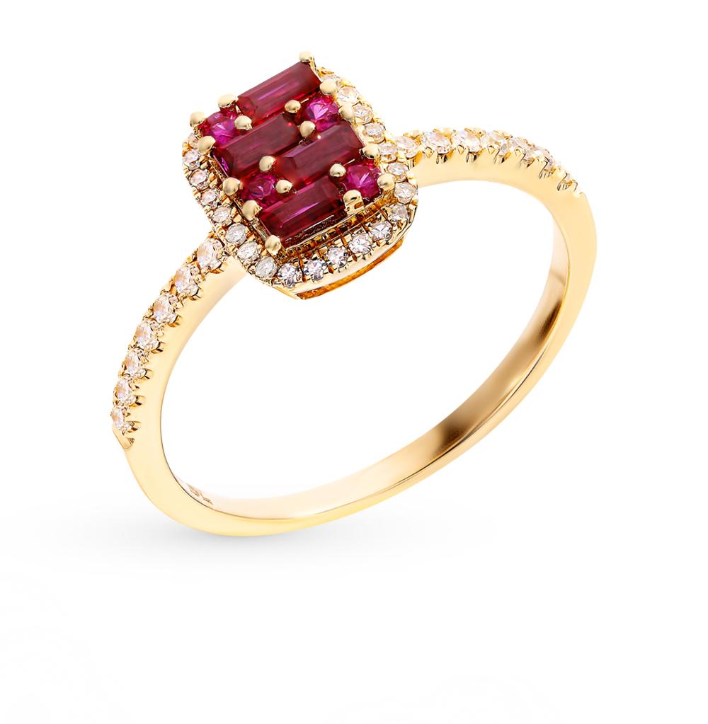 Золотое кольцо c рубинами и бриллиантами