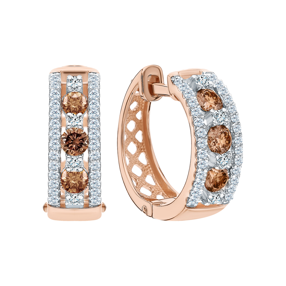 Золотые серьги с коньячными бриллиантами и бриллиантами в Екатеринбурге
