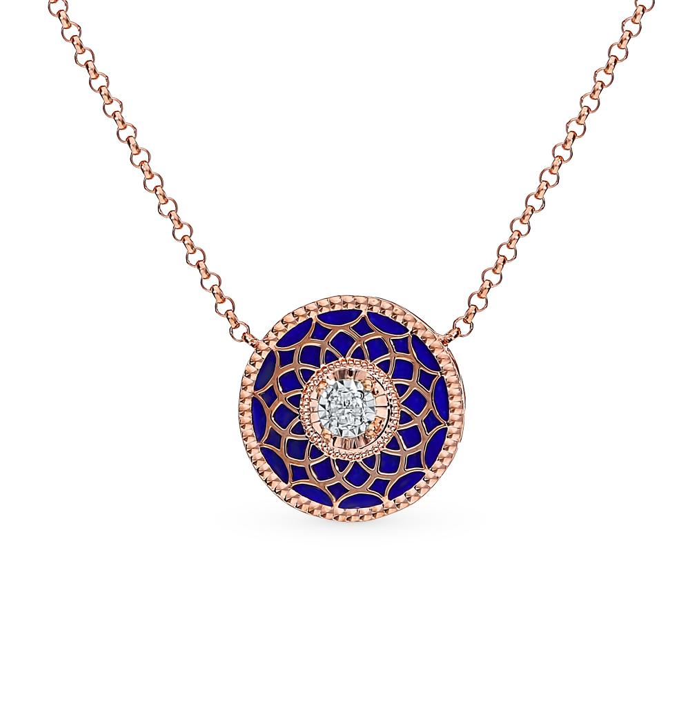 Золотое шейное украшение с лазуритом и бриллиантами в Санкт-Петербурге