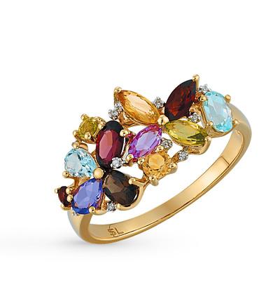 Фото «золотое кольцо с гранатом, цитринами, аметистом, топазами, хризолитом, сапфирами синтетическими и бриллиантами»