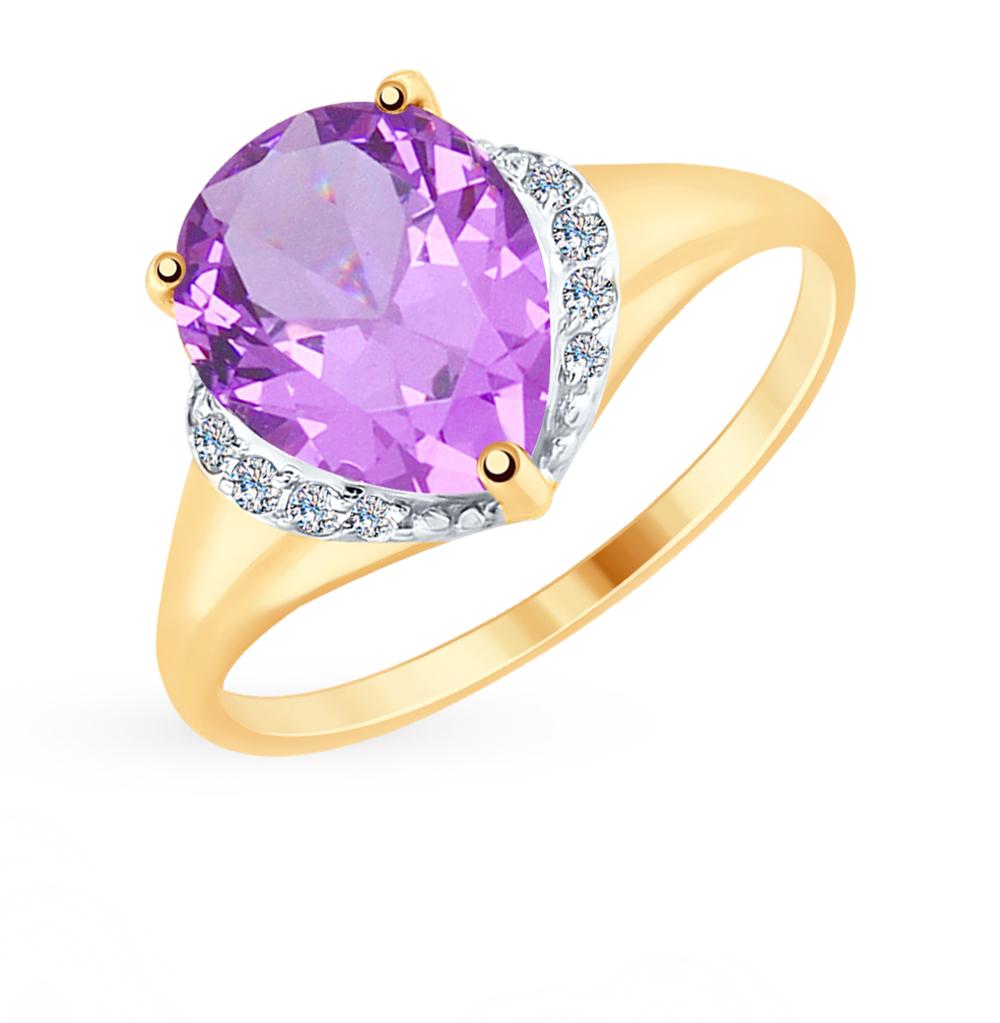золотое кольцо с аметистом и фианитами SOKOLOV 714943*