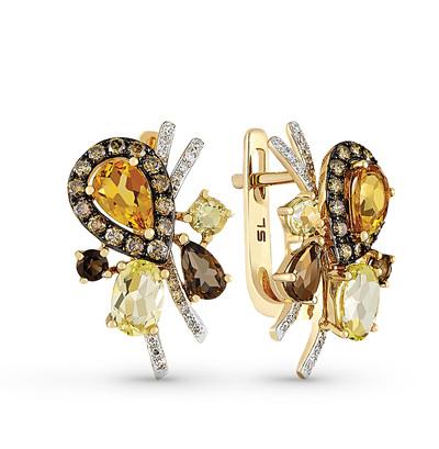 Фото «золотые серьги с коньячными бриллиантами, цитринами, раухтопазами (кварцами дымчатый) и бриллиантами»