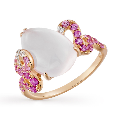 Фото «золотое кольцо с кварцем и сапфирами»