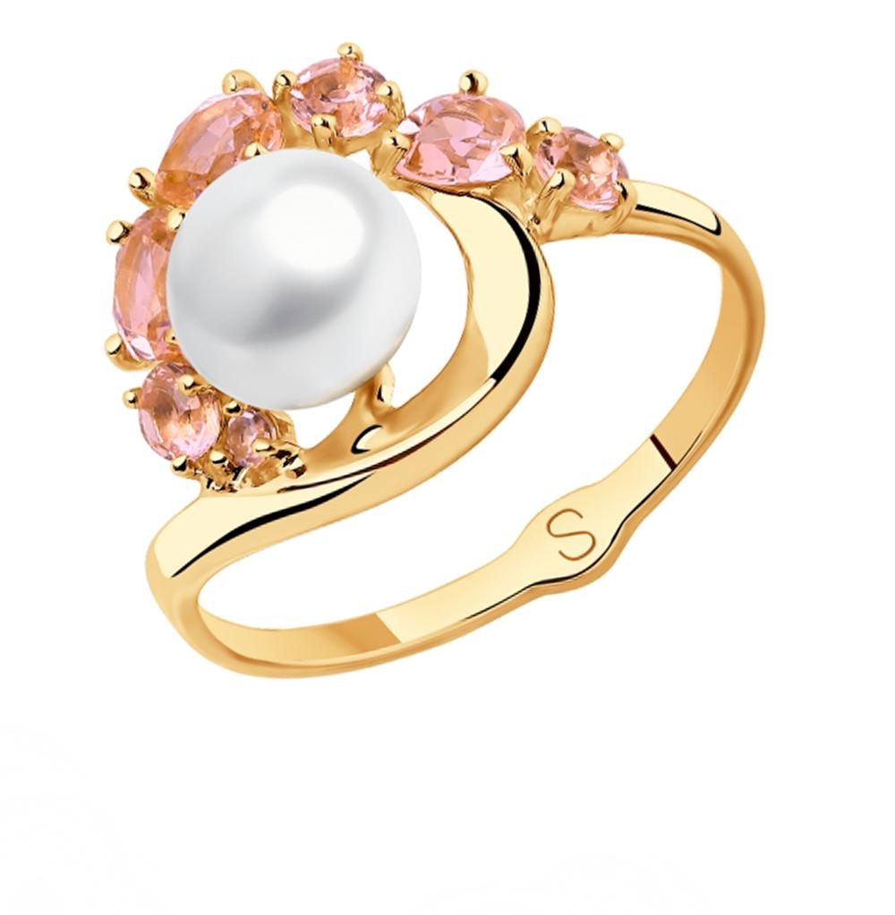 золотое кольцо с жемчугом и ситаллами SOKOLOV 791105