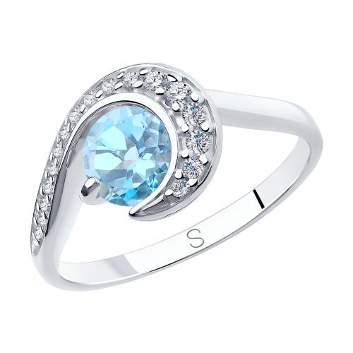 Фото «Серебряное кольцо с топазами и фианитами SOKOLOV 92011848»