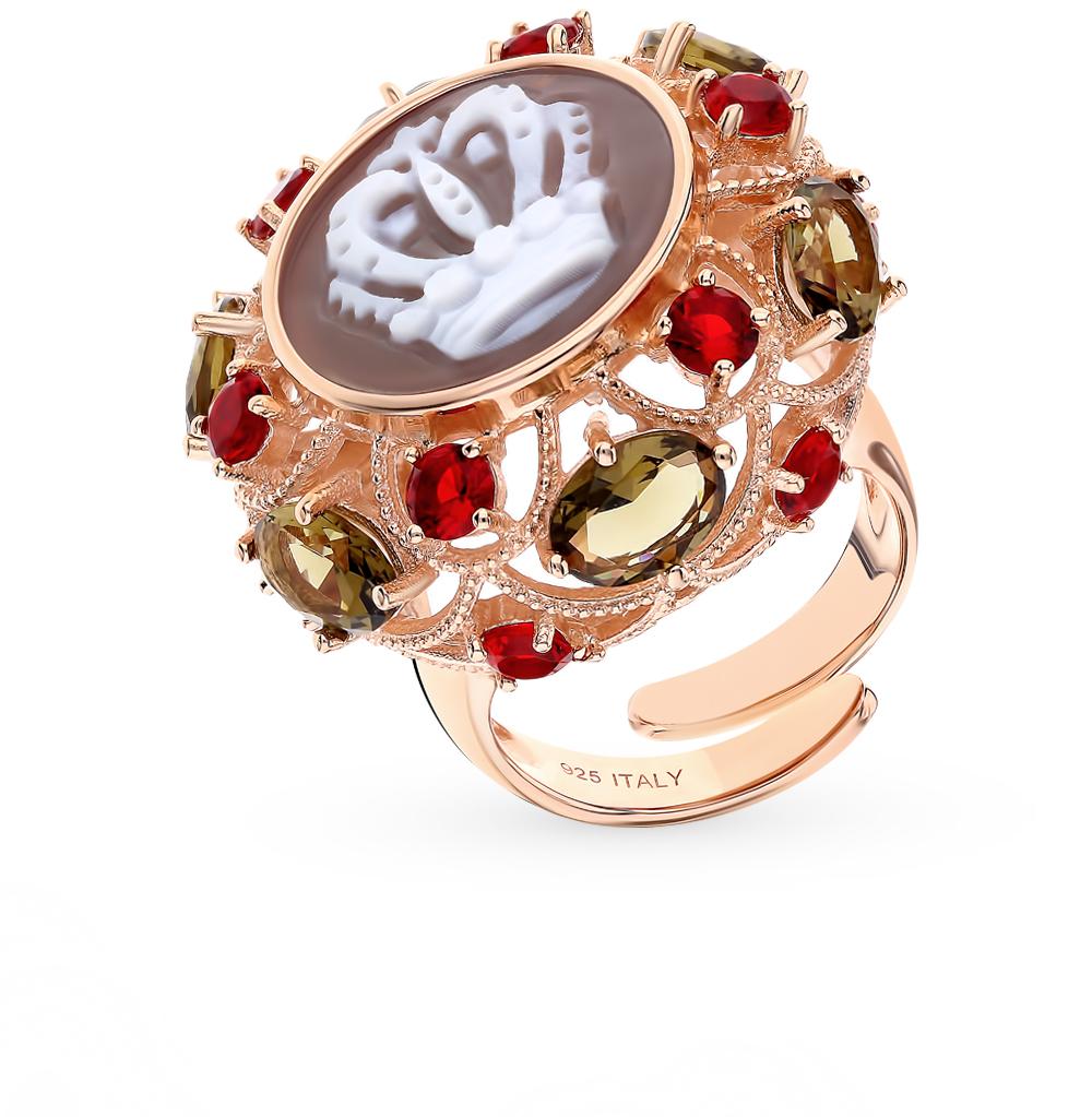 серебряное кольцо с алпанитом, фианитами и агатом