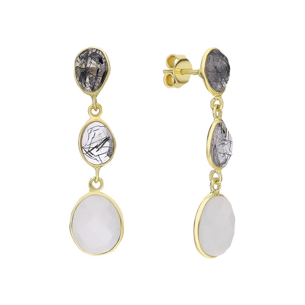 Фото «Серебряные серьги с кварцем и лунными камнями»