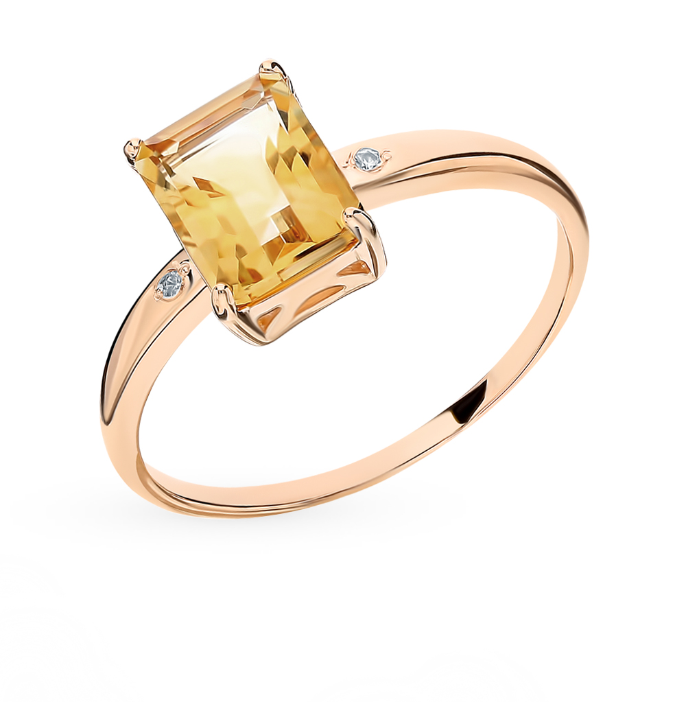 Золотое кольцо с бриллиантами и цитрином в Екатеринбурге