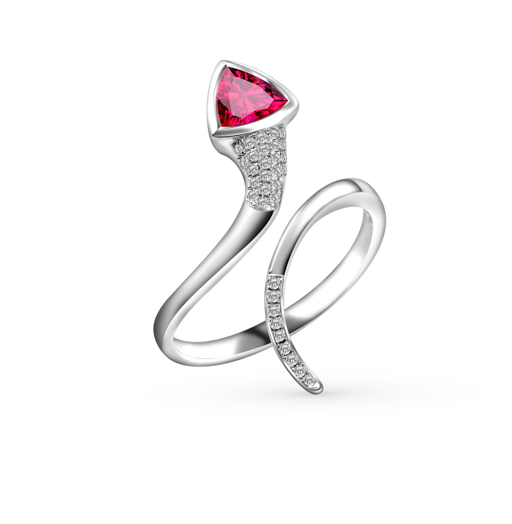 золотое кольцо с родолитами и бриллиантами