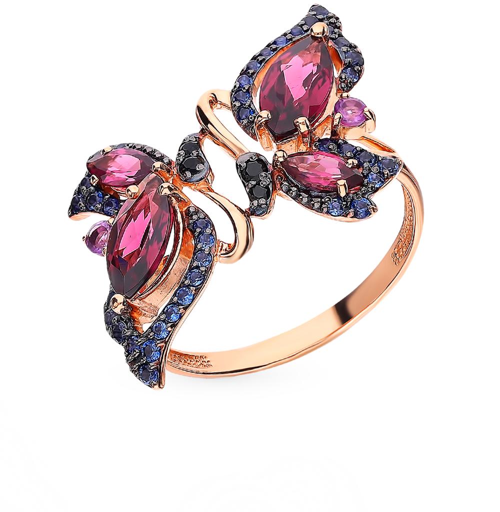 золотое кольцо с родолитами, аметистом и фианитами