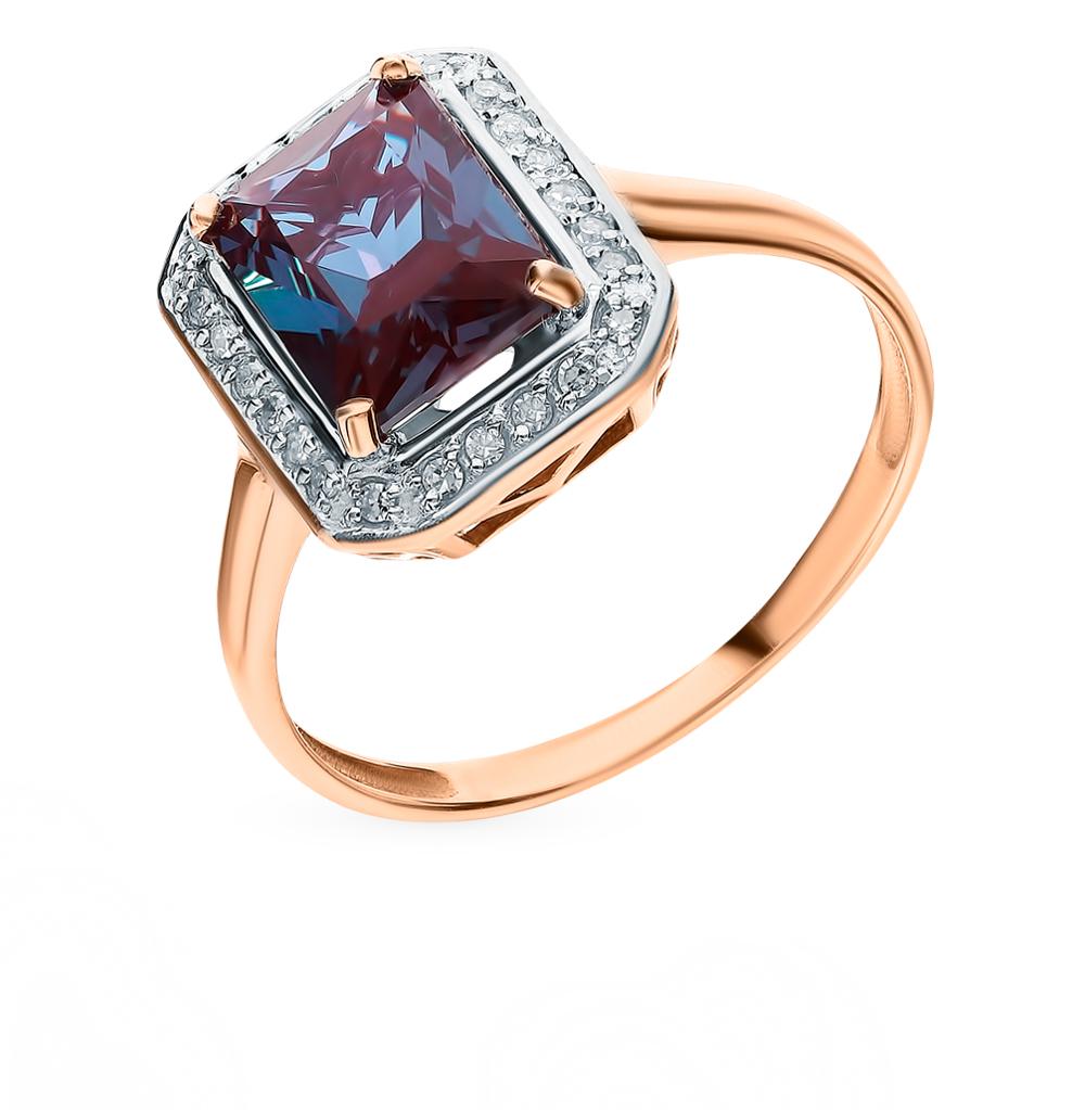 золотое кольцо с александритом и бриллиантами