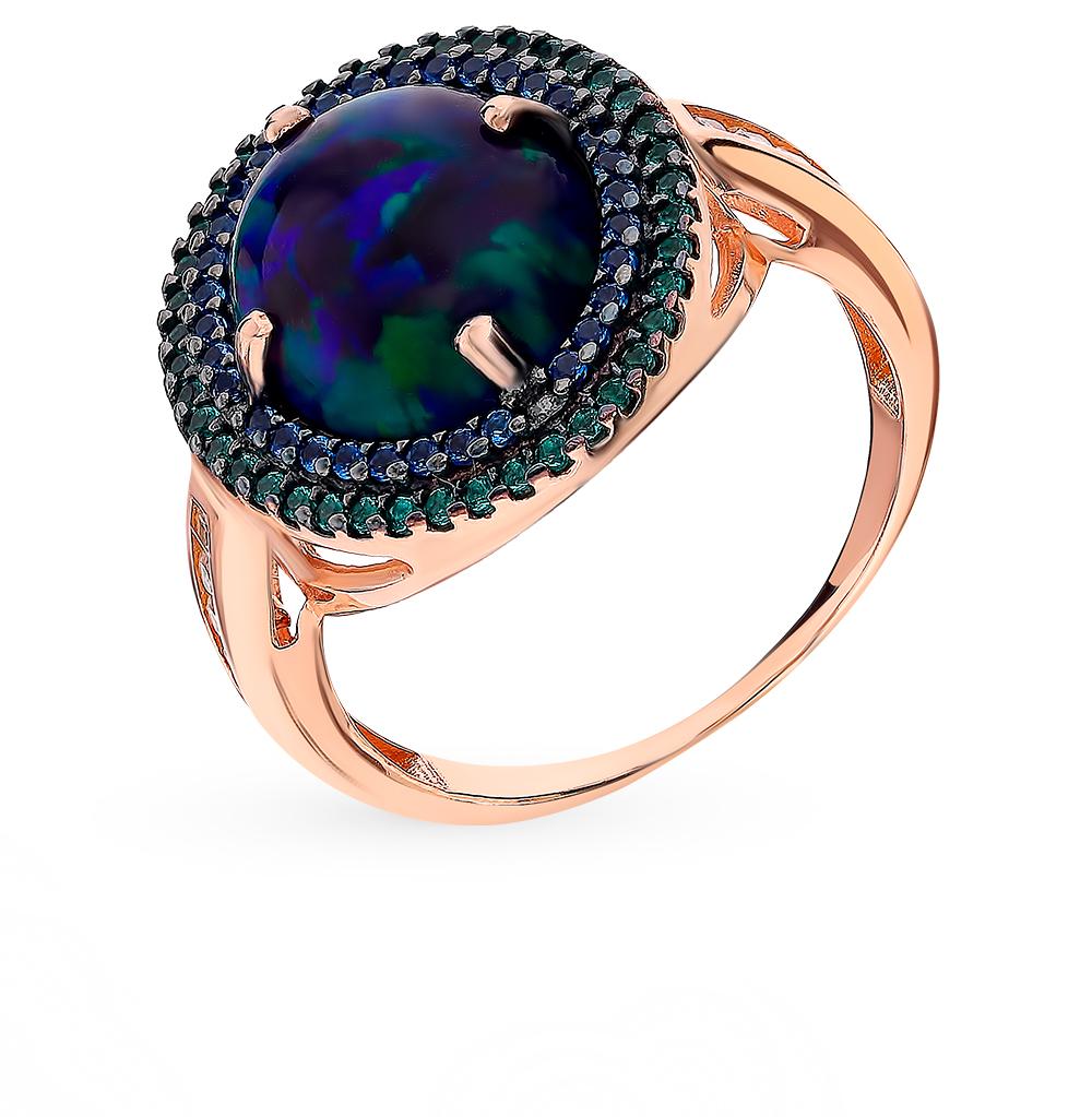 Фото «Золотое кольцо с сапфирами, фианитами, изумрудами и опалами»