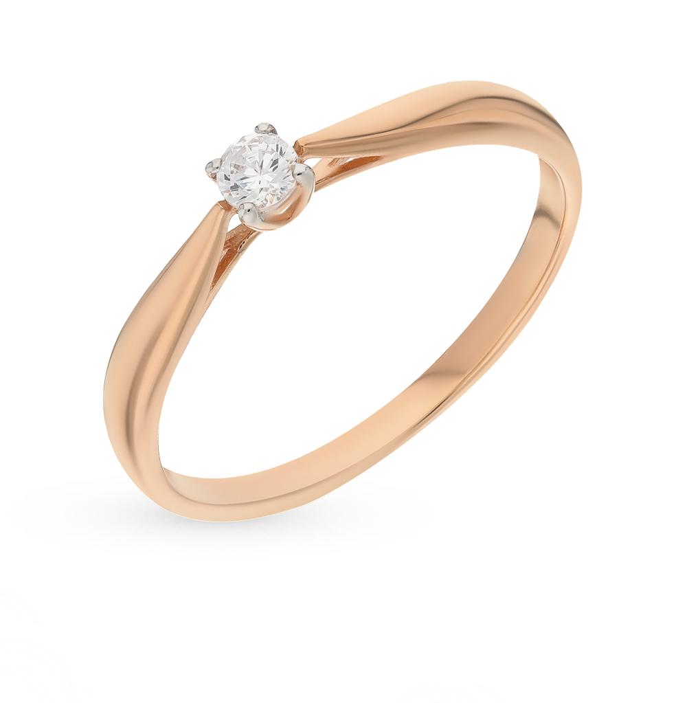 золотое кольцо с фианитами SOKOLOV 81010241*