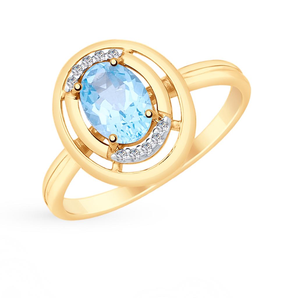 золотое кольцо с топазами и фианитами SOKOLOV 715347*