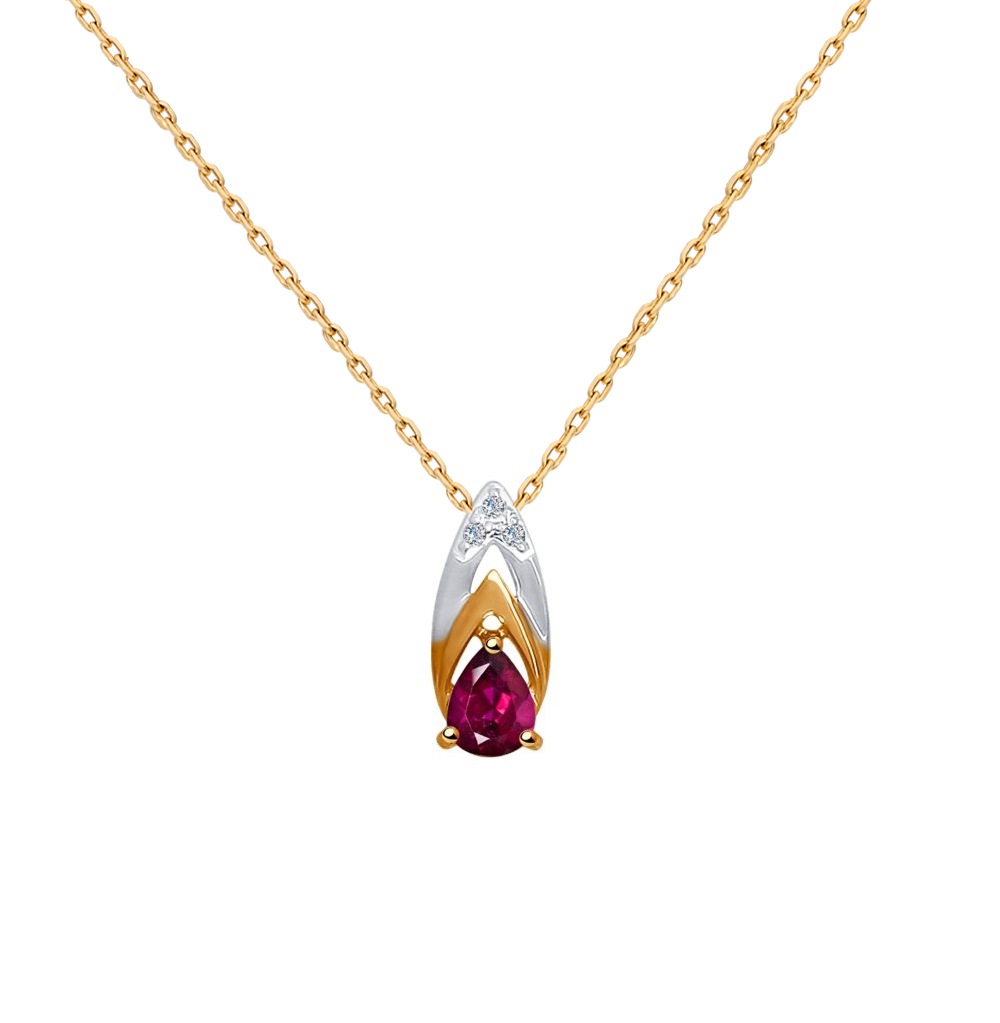 золотая подвеска с рубинами и бриллиантами SOKOLOV 4030108