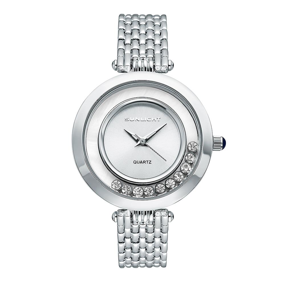 Женские часы с танцующими кристаллами на металлическом браслете в Екатеринбурге