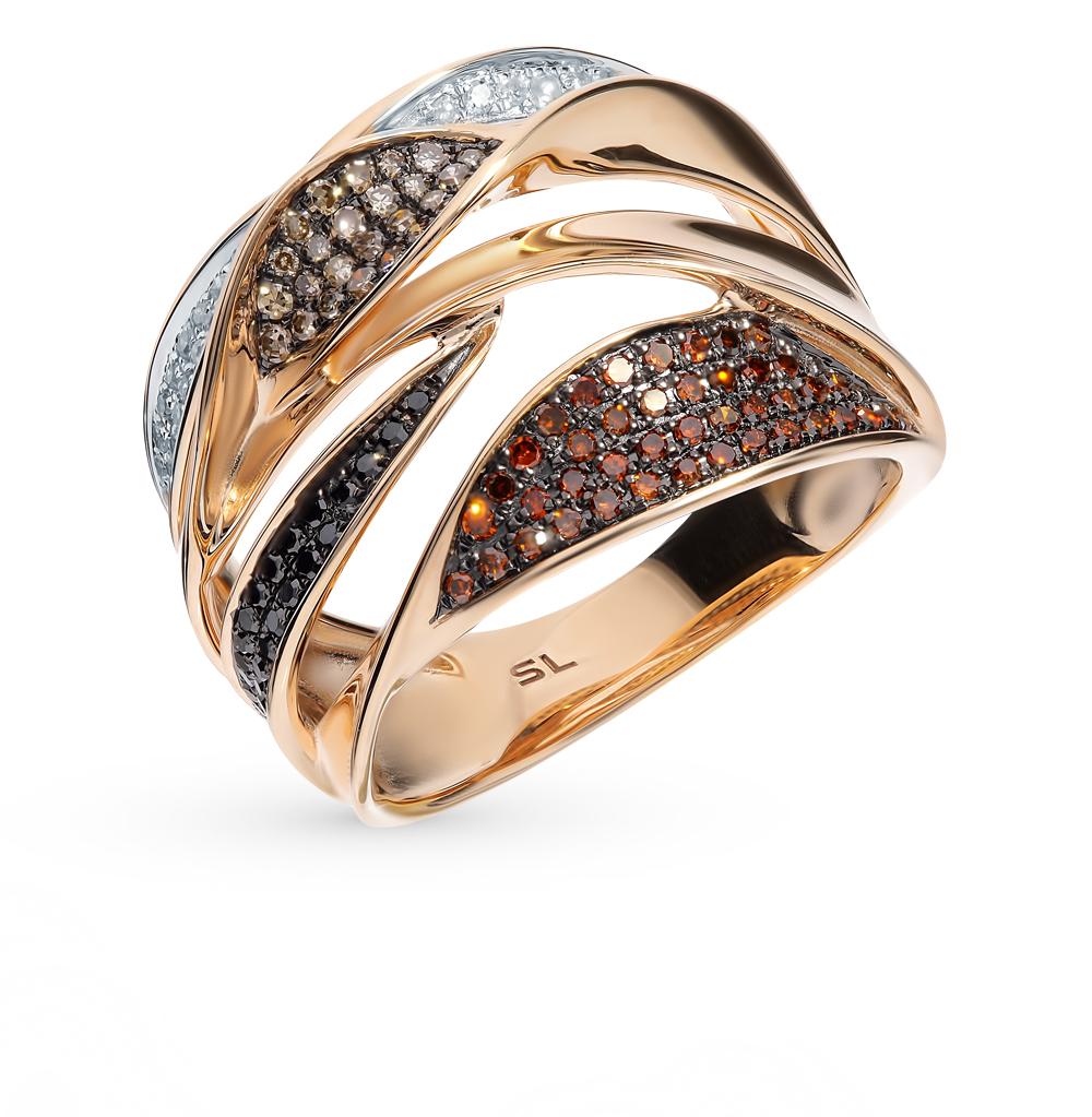 Золотое кольцо с чёрными и коньячными бриллиантами в Санкт-Петербурге