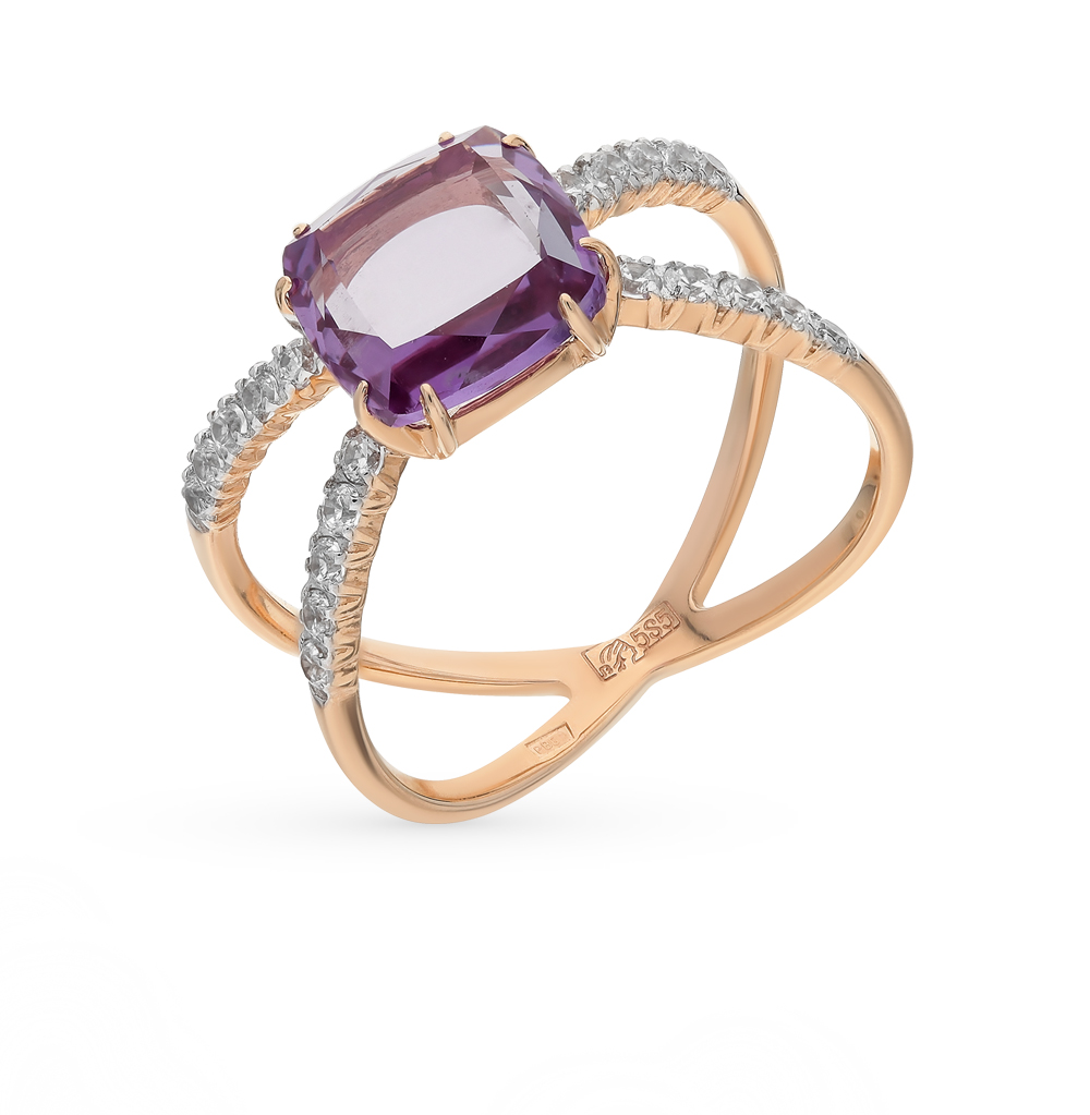 Фото «золотое кольцо с александритом и фианитами»