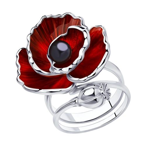 Фото «Серебряное кольцо с жемчугом и эмалью SOKOLOV 94013133»