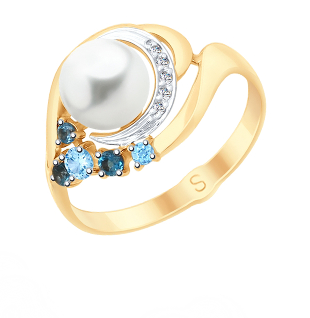 золотое кольцо с топазами, фианитами и жемчугом SOKOLOV 791063