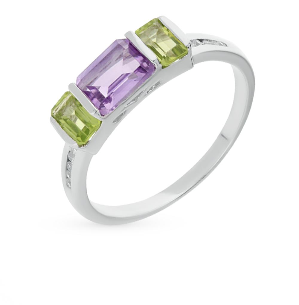 Фото «серебряное кольцо с аметистом и хризолитом»