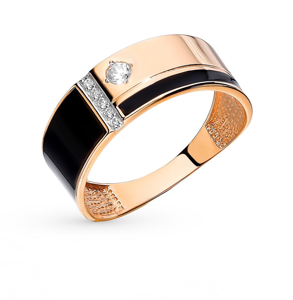 золотое кольцо с фианитами и эмалью