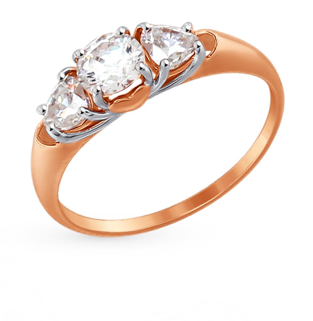 золотое кольцо с фианитами SOKOLOV 81010301*